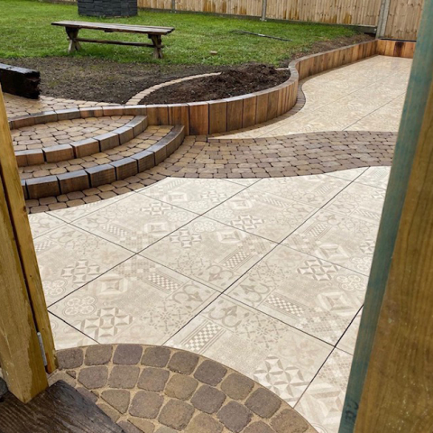patio, brick edging